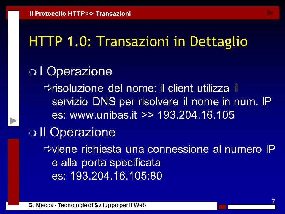 HTTP 1.0: Transazioni in Dettaglio