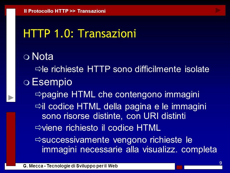 HTTP 1.0: Transazioni Nota Esempio