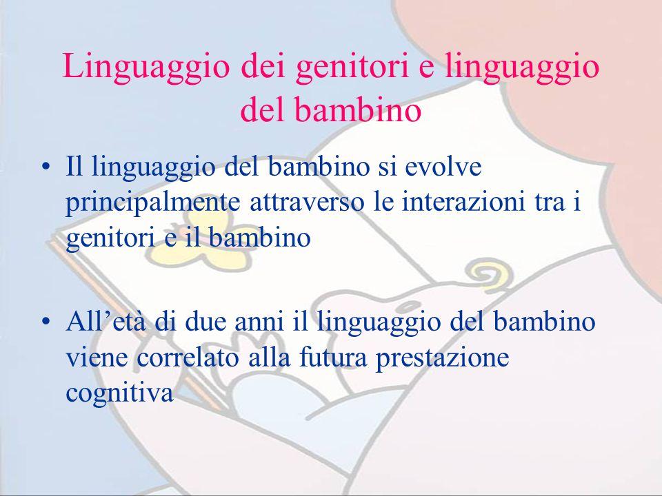 Linguaggio dei genitori e linguaggio del bambino