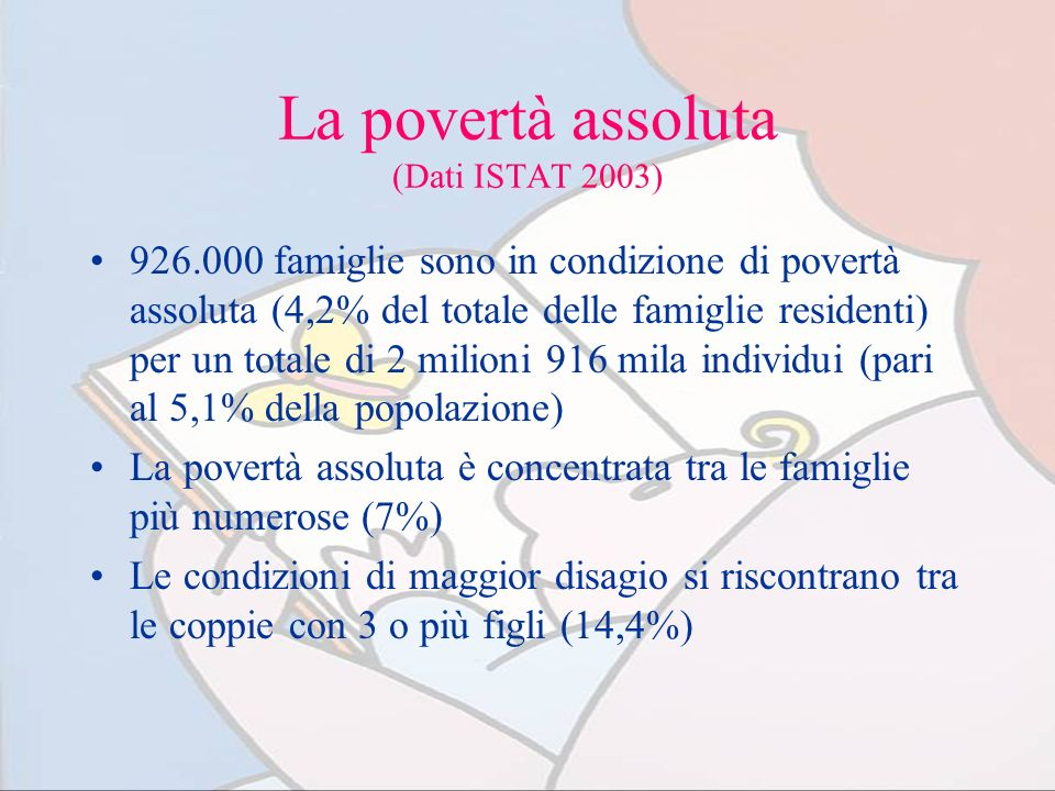 La povertà assoluta (Dati ISTAT 2003)