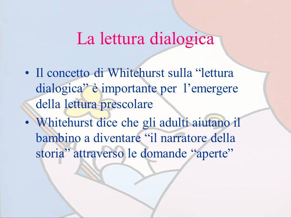 La lettura dialogicaIl concetto di Whitehurst sulla lettura dialogica è importante per l'emergere della lettura prescolare.