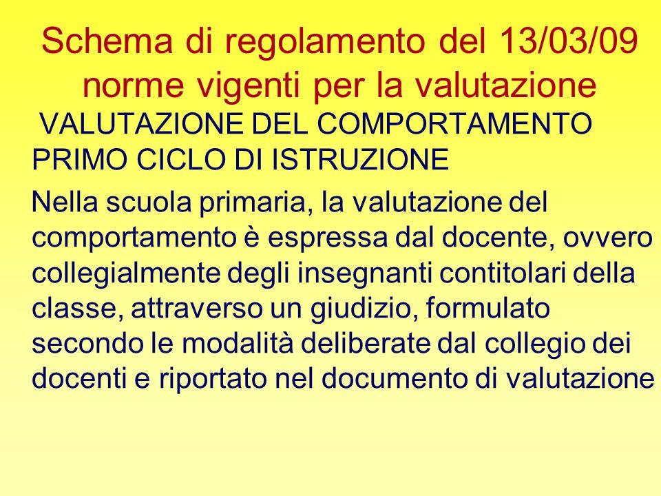 Schema di regolamento del 13/03/09 norme vigenti per la valutazione