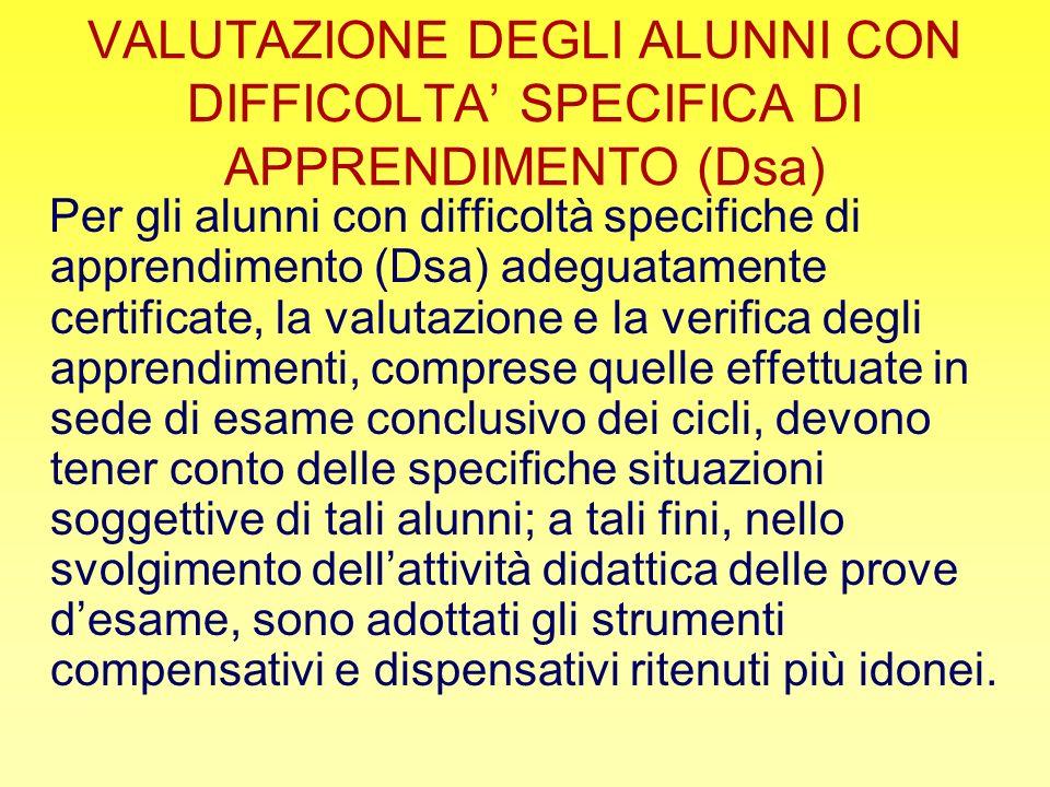 VALUTAZIONE DEGLI ALUNNI CON DIFFICOLTA' SPECIFICA DI APPRENDIMENTO (Dsa)