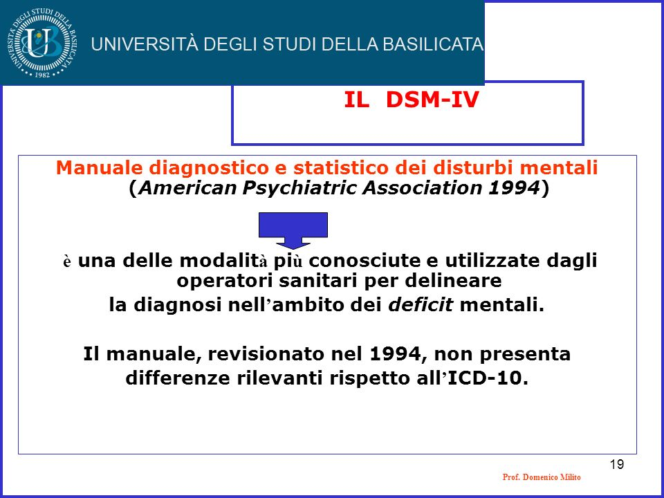 IL DSM-IVManuale diagnostico e statistico dei disturbi mentali (American Psychiatric Association 1994)