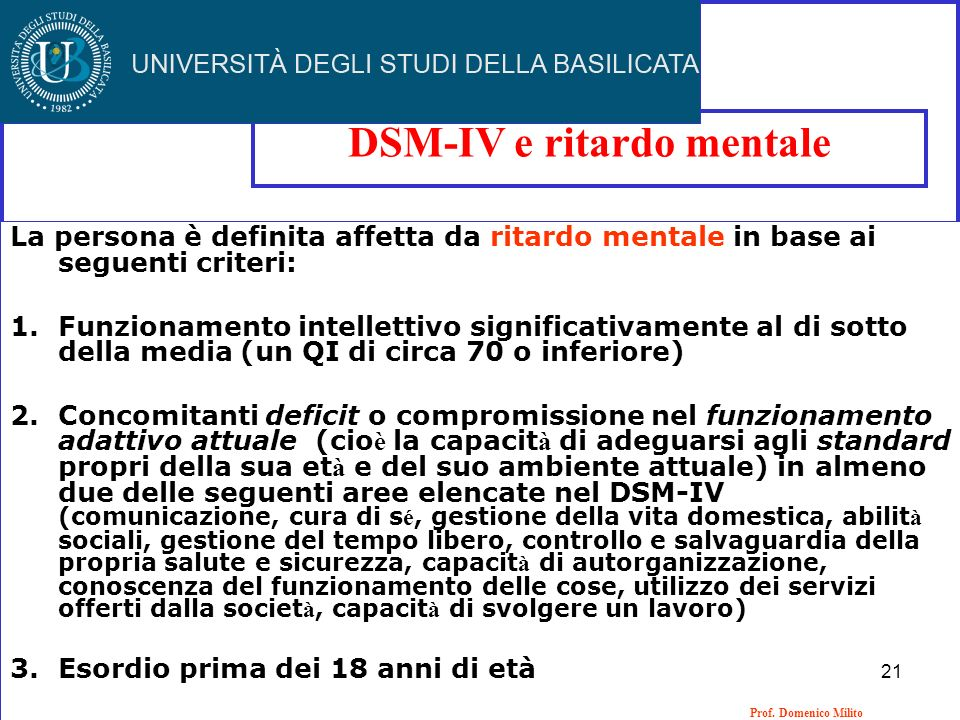 DSM-IV e ritardo mentale