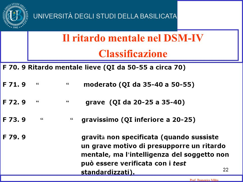 Il ritardo mentale nel DSM-IV