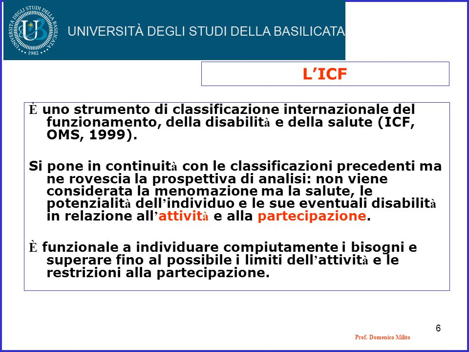 L'ICF È uno strumento di classificazione internazionale del funzionamento, della disabilità e della salute (ICF, OMS, 1999).