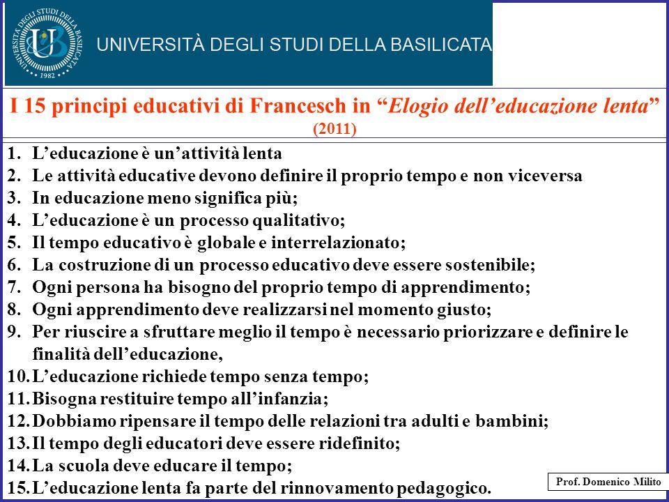 I 15 principi educativi di Francesch in Elogio dell'educazione lenta (2011)