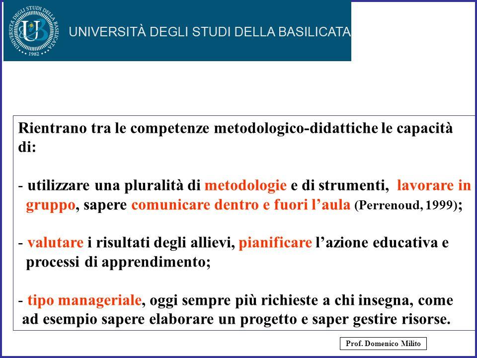 Rientrano tra le competenze metodologico-didattiche le capacità di: