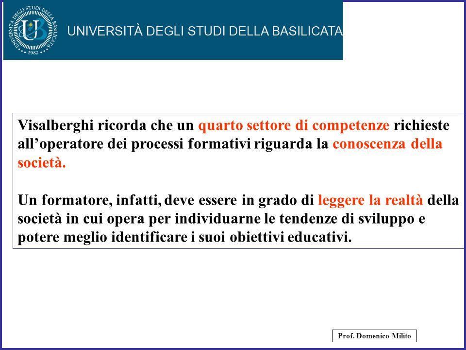 Visalberghi ricorda che un quarto settore di competenze richieste all'operatore dei processi formativi riguarda la conoscenza della società.