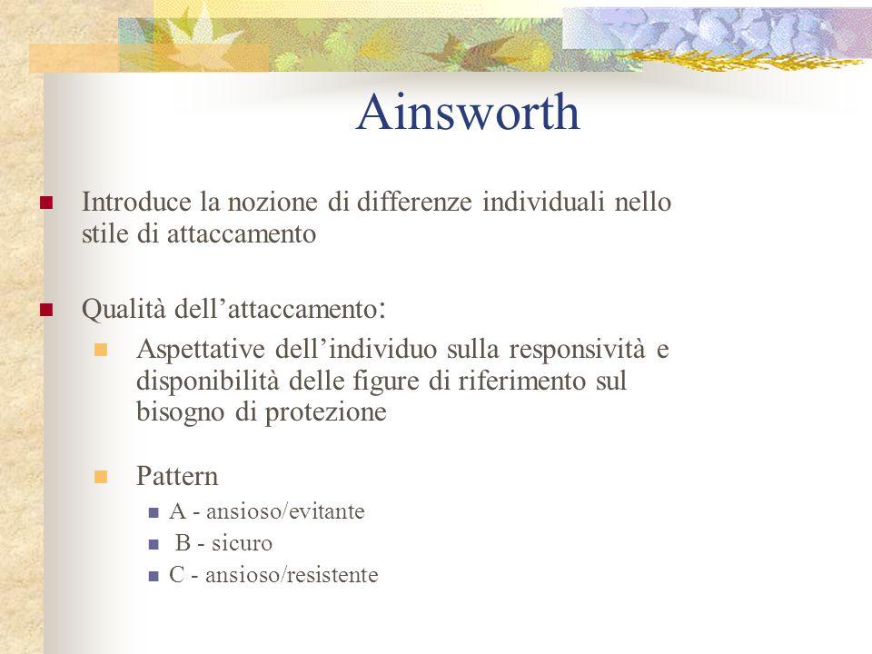 Ainsworth Introduce la nozione di differenze individuali nello stile di attaccamento. Qualità dell'attaccamento: