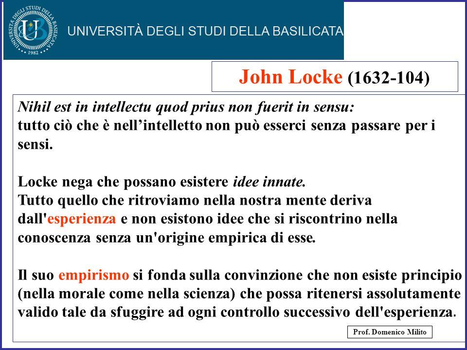 John Locke (1632-104) Nihil est in intellectu quod prius non fuerit in sensu: