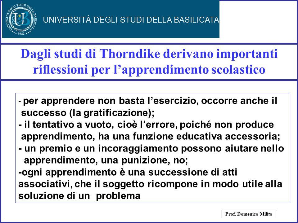 Dagli studi di Thorndike derivano importanti riflessioni per l'apprendimento scolastico