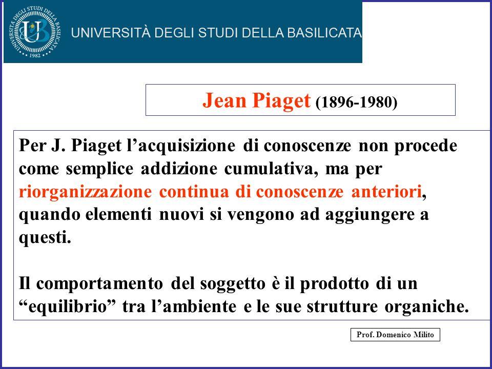 Jean Piaget (1896-1980) Per J. Piaget l'acquisizione di conoscenze non procede. come semplice addizione cumulativa, ma per.