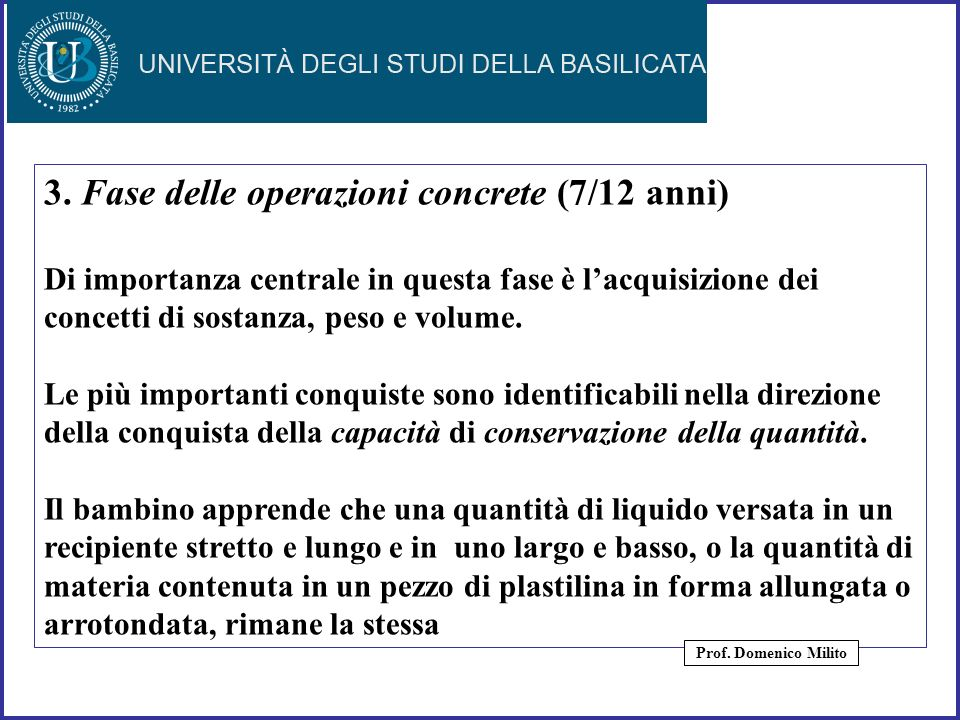3. Fase delle operazioni concrete (7/12 anni)