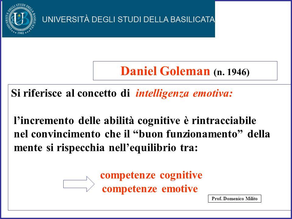Daniel Goleman (n. 1946) Si riferisce al concetto di intelligenza emotiva: l'incremento delle abilità cognitive è rintracciabile.