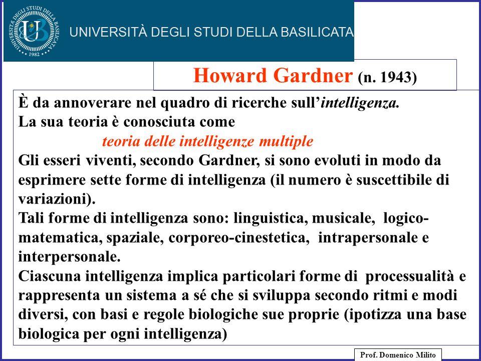 Howard Gardner (n. 1943) È da annoverare nel quadro di ricerche sull'intelligenza. La sua teoria è conosciuta come.