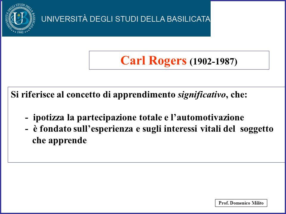Carl Rogers (1902-1987) Si riferisce al concetto di apprendimento significativo, che: - ipotizza la partecipazione totale e l'automotivazione.