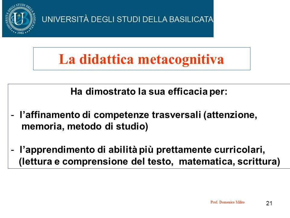 La didattica metacognitiva Ha dimostrato la sua efficacia per:
