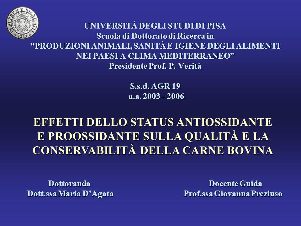 UNIVERSITÀ DEGLI STUDI DI PISA Scuola di Dottorato di Ricerca in PRODUZIONI ANIMALI, SANITÀ E IGIENE DEGLI ALIMENTI NEI PAESI A CLIMA MEDITERRANEO Presidente Prof. P. Verità S.s.d. AGR 19 a.a. 2003 - 2006