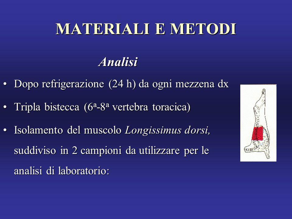 MATERIALI E METODI Analisi