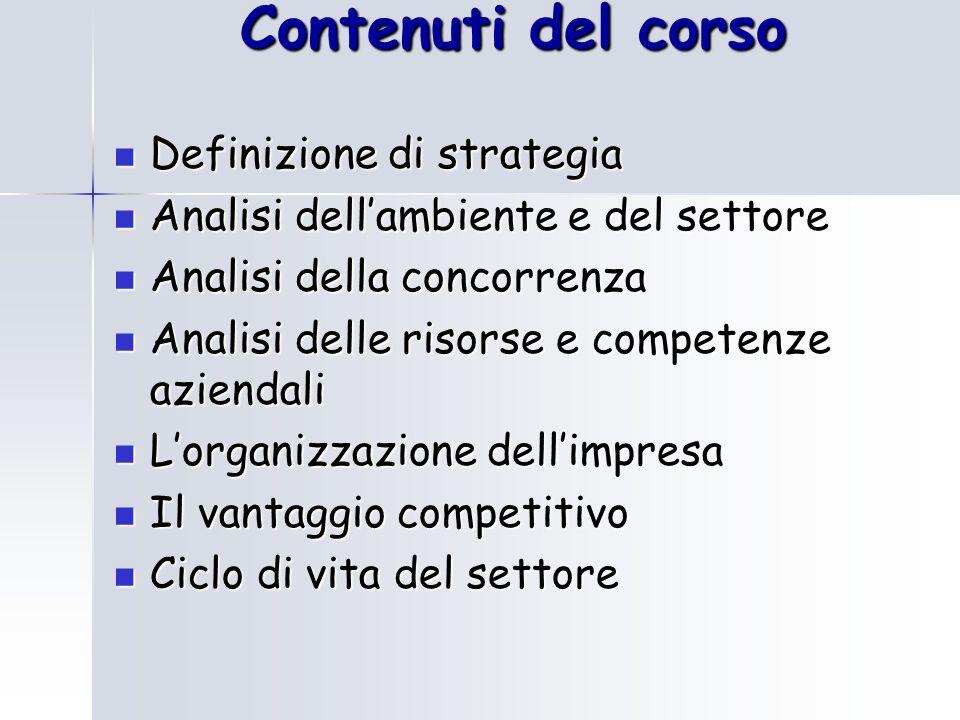 Contenuti del corso Definizione di strategia
