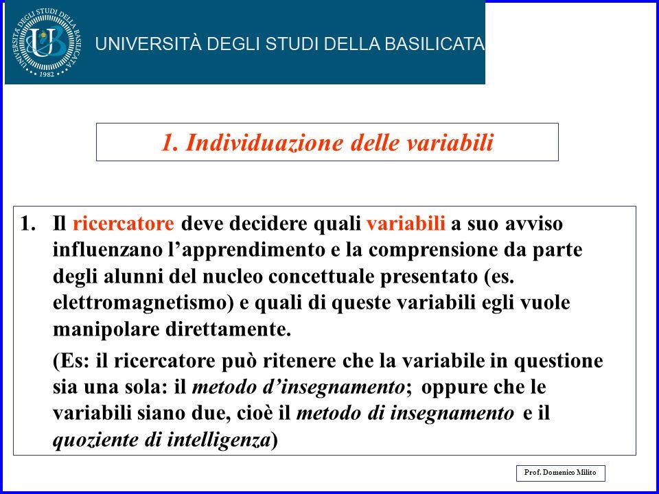 1. Individuazione delle variabili