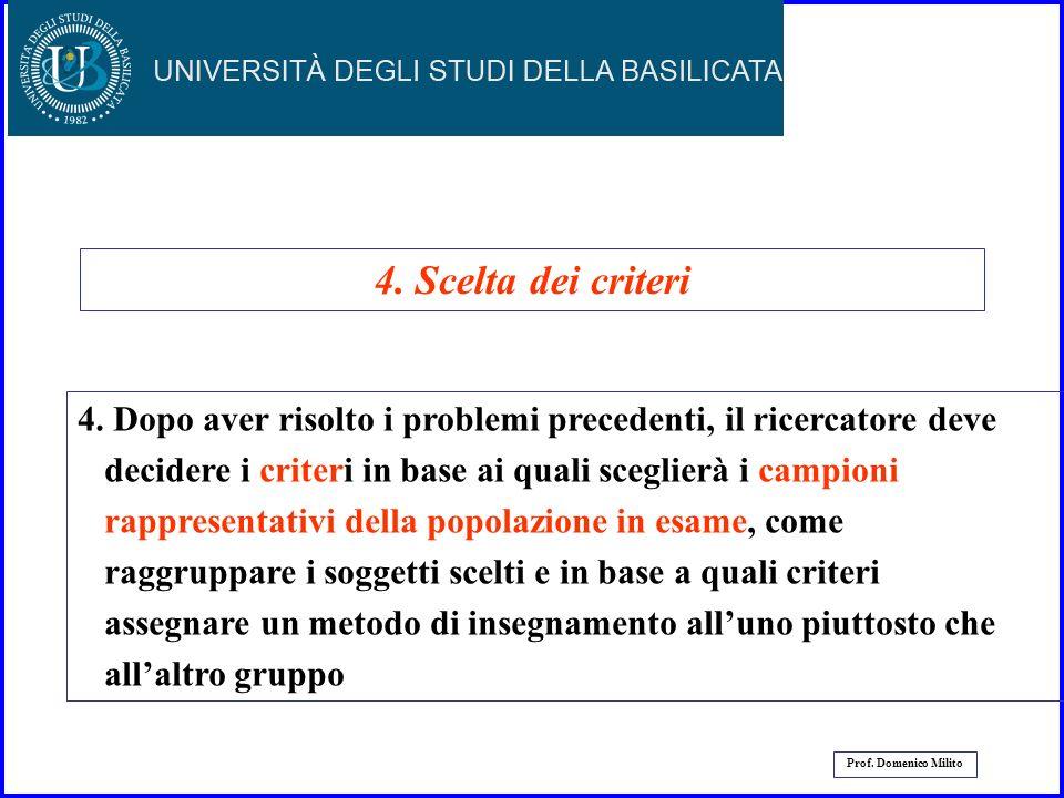 4. Scelta dei criteri 4. Dopo aver risolto i problemi precedenti, il ricercatore deve. decidere i criteri in base ai quali sceglierà i campioni.