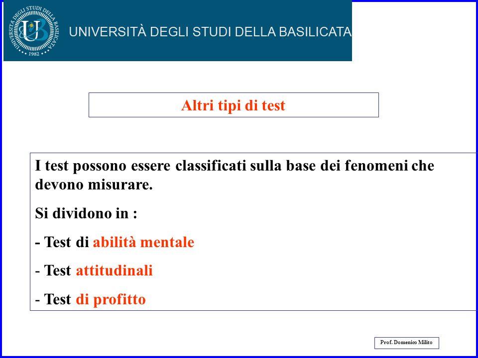 - Test di abilità mentale Test attitudinali Test di profitto