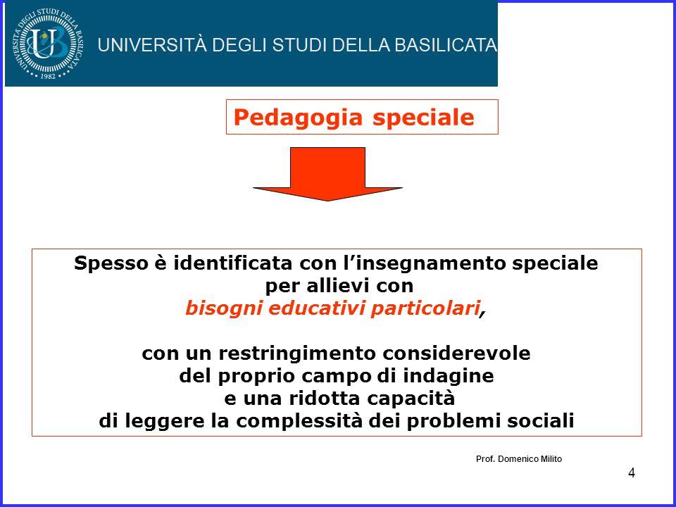 Pedagogia speciale Spesso è identificata con l'insegnamento speciale