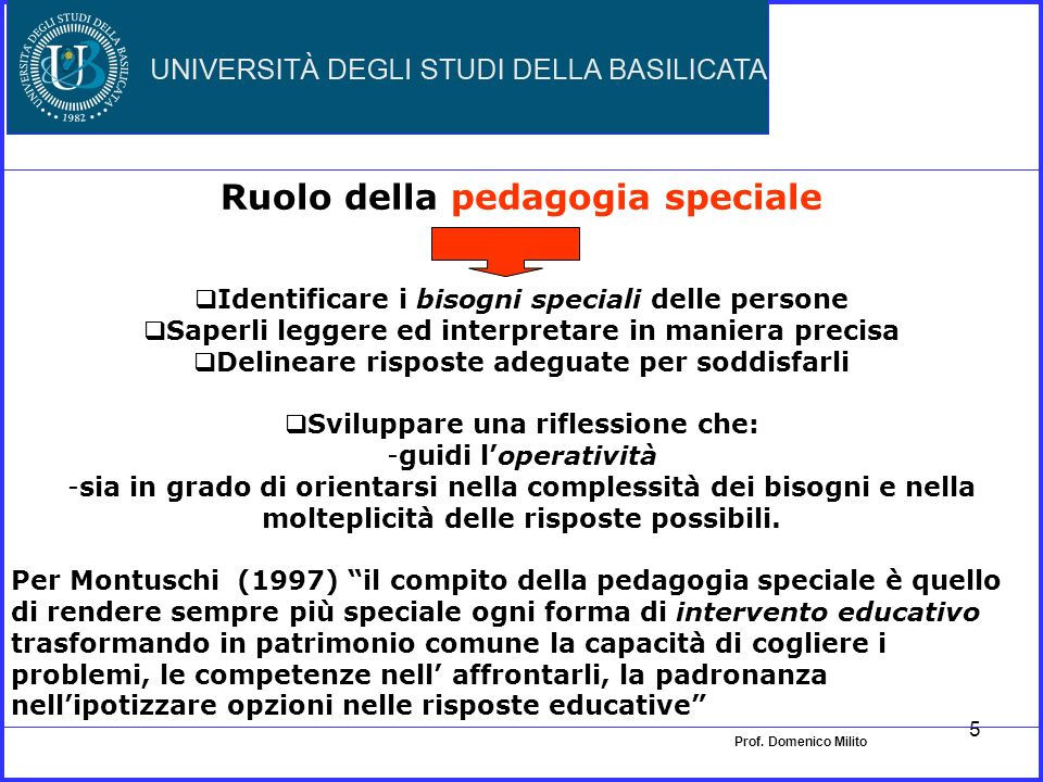 Ruolo della pedagogia speciale