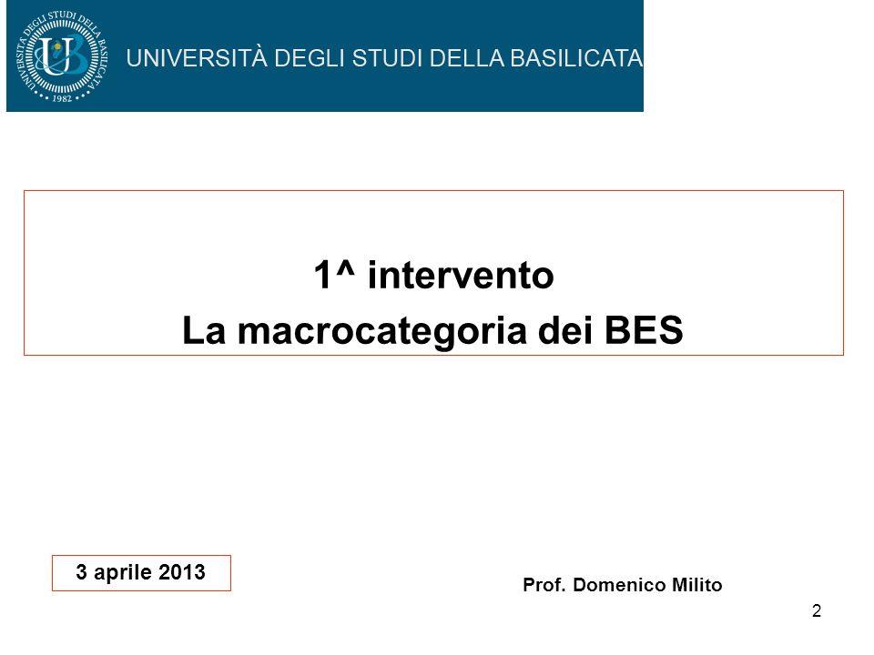 1^ intervento La macrocategoria dei BES