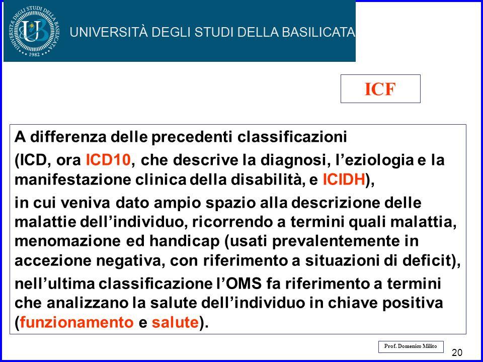 ICF A differenza delle precedenti classificazioni