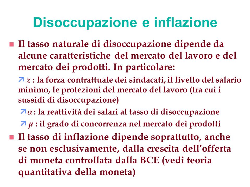 Disoccupazione e inflazione