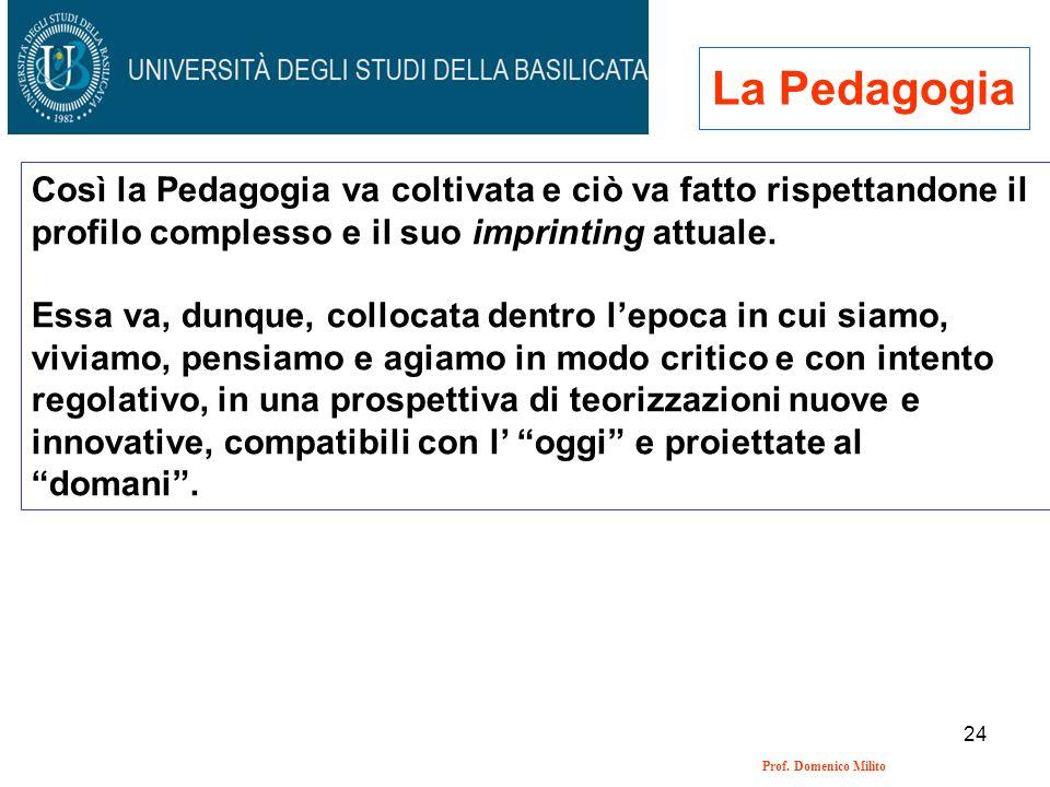 La Pedagogia Così la Pedagogia va coltivata e ciò va fatto rispettandone il profilo complesso e il suo imprinting attuale.