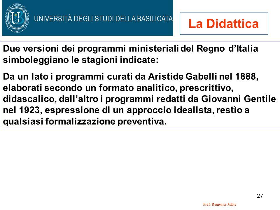 La Didattica Due versioni dei programmi ministeriali del Regno d'Italia simboleggiano le stagioni indicate: