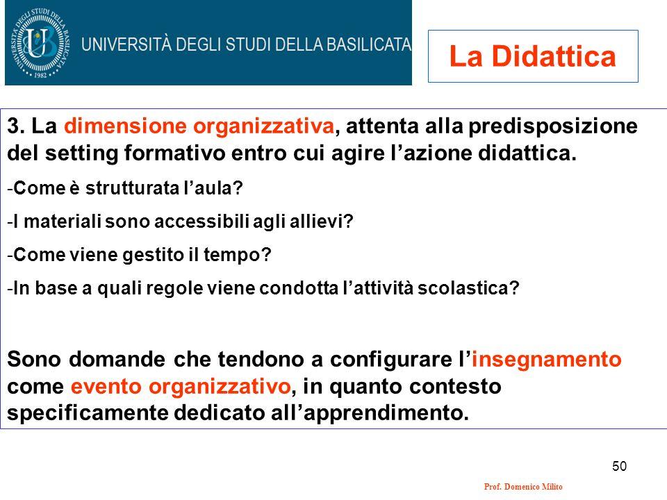 La Didattica 3. La dimensione organizzativa, attenta alla predisposizione del setting formativo entro cui agire l'azione didattica.