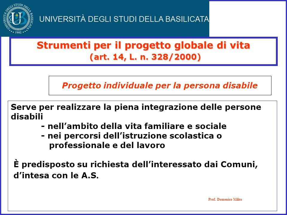 Strumenti per il progetto globale di vita (art. 14, L. n. 328/2000)