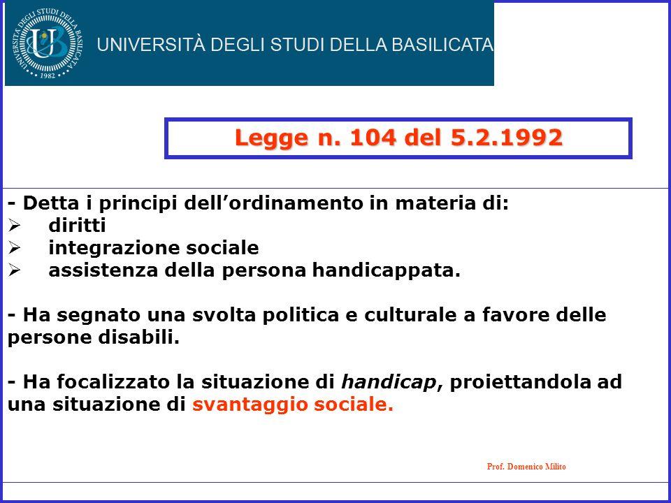 Legge n. 104 del 5.2.1992 - Detta i principi dell'ordinamento in materia di: diritti. integrazione sociale.