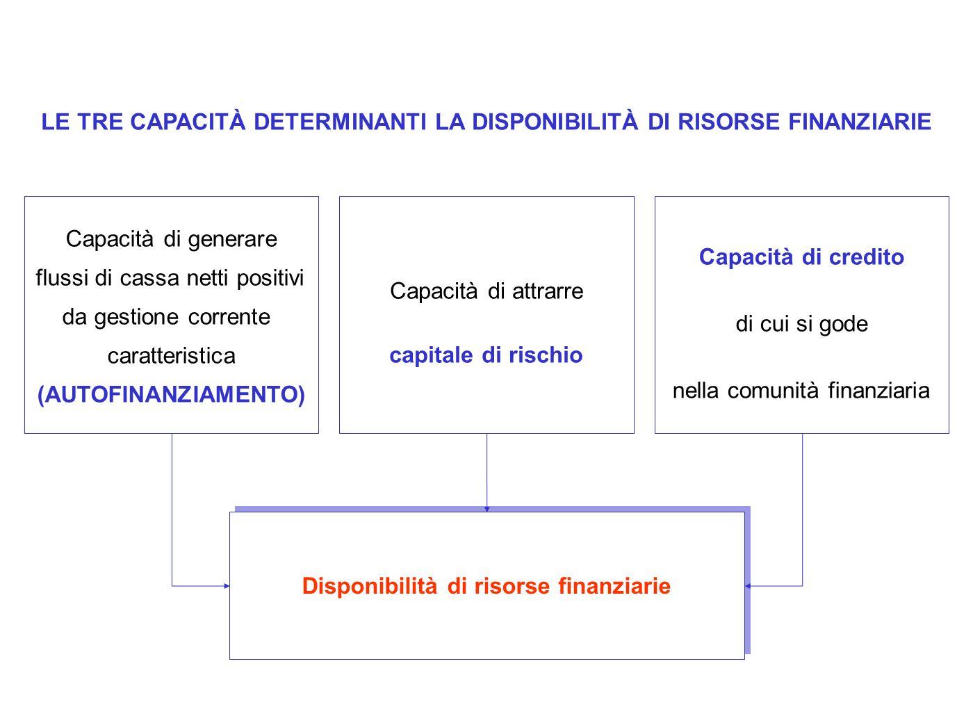 LE TRE CAPACITÀ DETERMINANTI LA DISPONIBILITÀ DI RISORSE FINANZIARIE
