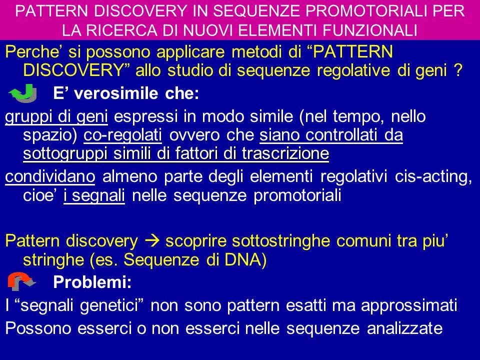 I segnali genetici non sono pattern esatti ma approssimati