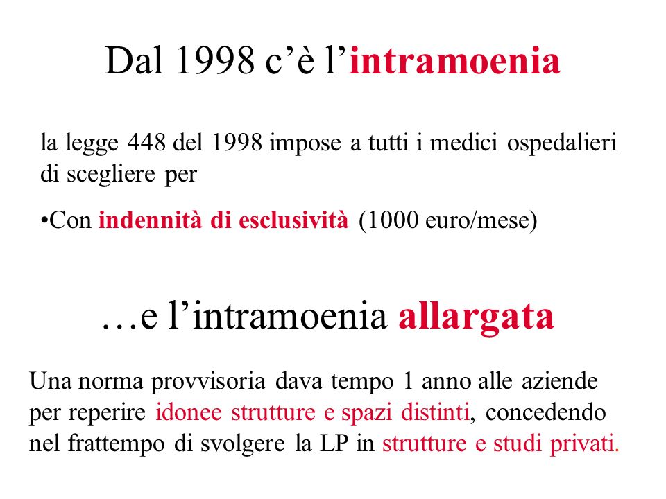 …e l'intramoenia allargata