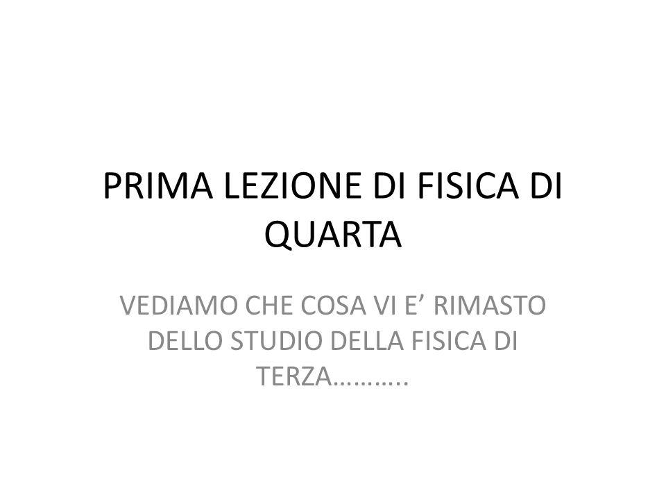 PRIMA LEZIONE DI FISICA DI QUARTA