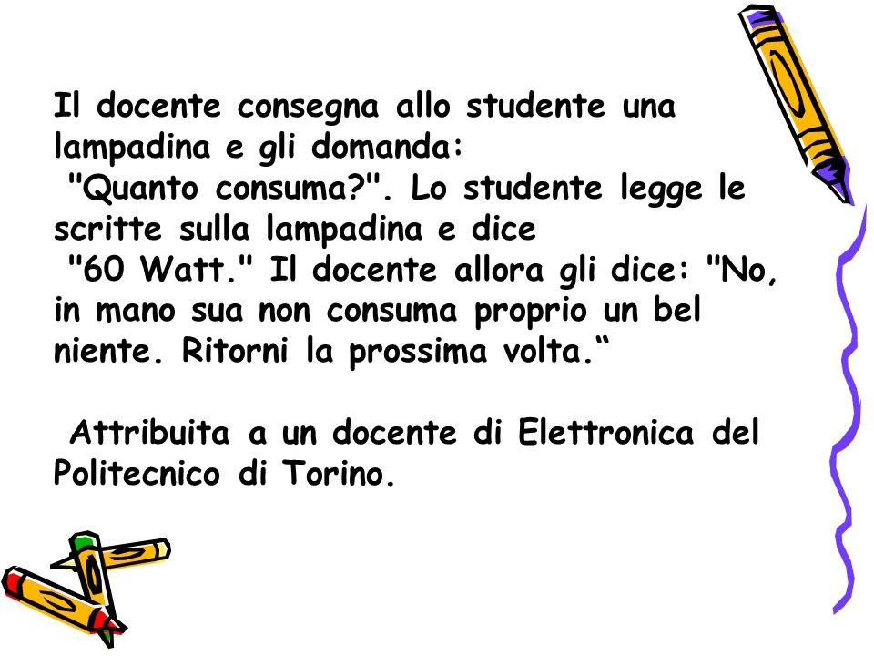 Il docente consegna allo studente una lampadina e gli domanda: