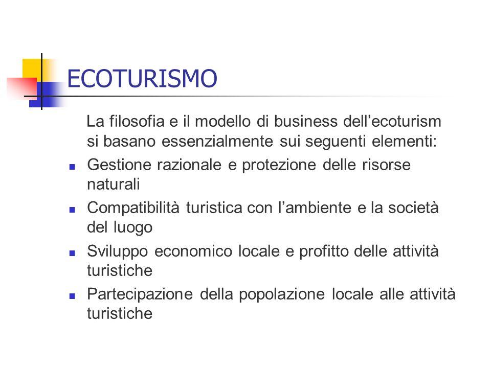 ECOTURISMO La filosofia e il modello di business dell'ecoturism si basano essenzialmente sui seguenti elementi: