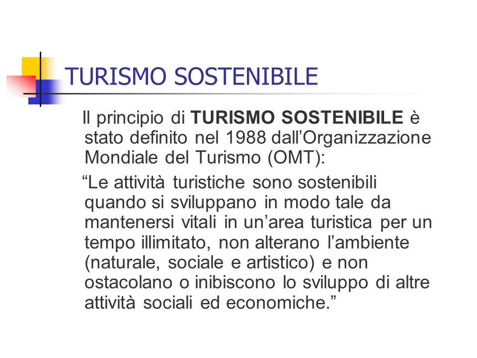 TURISMO SOSTENIBILE Il principio di TURISMO SOSTENIBILE è stato definito nel 1988 dall'Organizzazione Mondiale del Turismo (OMT):