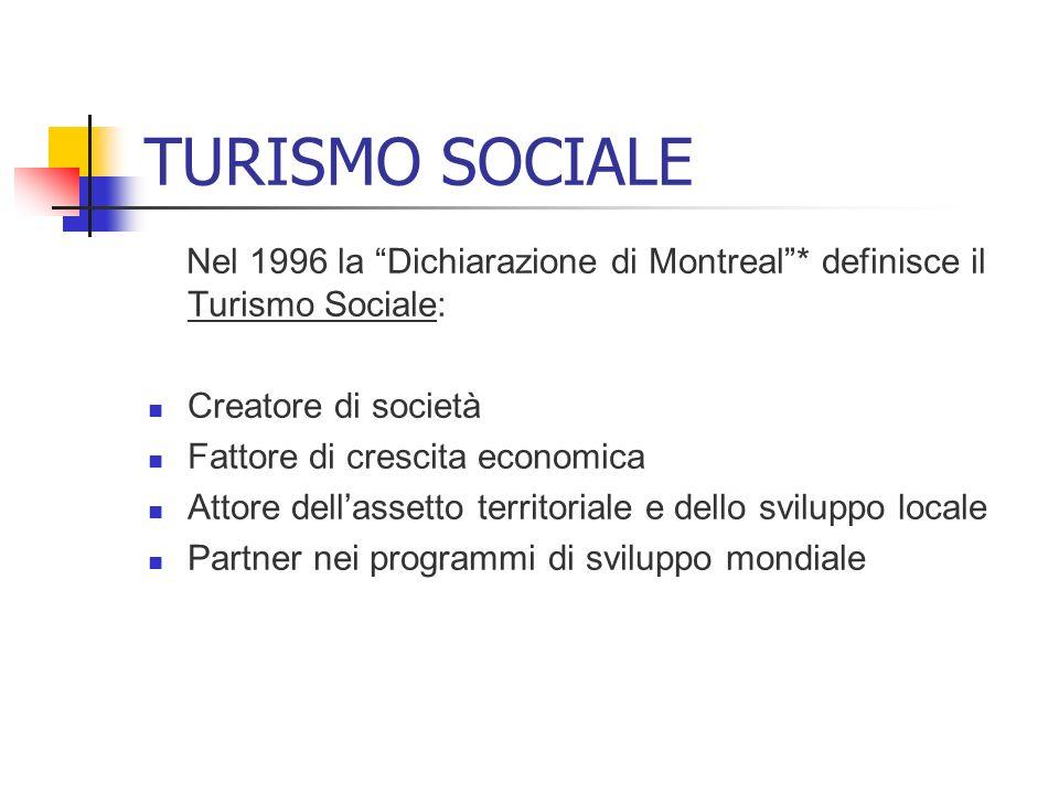 TURISMO SOCIALE Nel 1996 la Dichiarazione di Montreal * definisce il Turismo Sociale: Creatore di società.