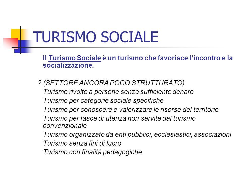 TURISMO SOCIALE Il Turismo Sociale è un turismo che favorisce l'incontro e la socializzazione. (SETTORE ANCORA POCO STRUTTURATO)