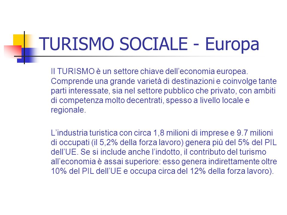 TURISMO SOCIALE - Europa