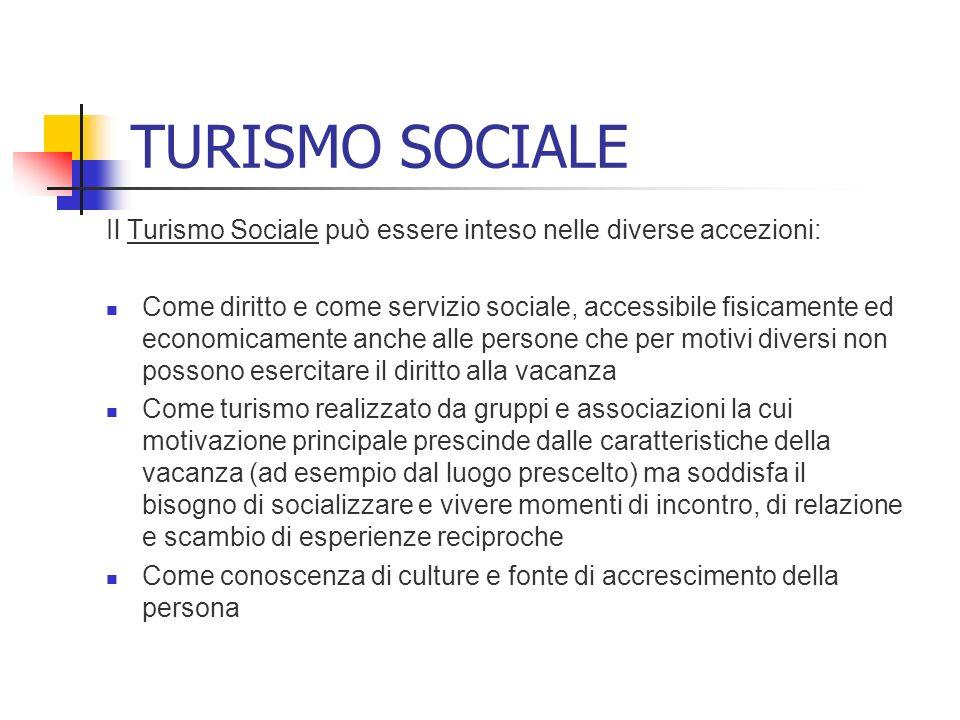 TURISMO SOCIALE Il Turismo Sociale può essere inteso nelle diverse accezioni: